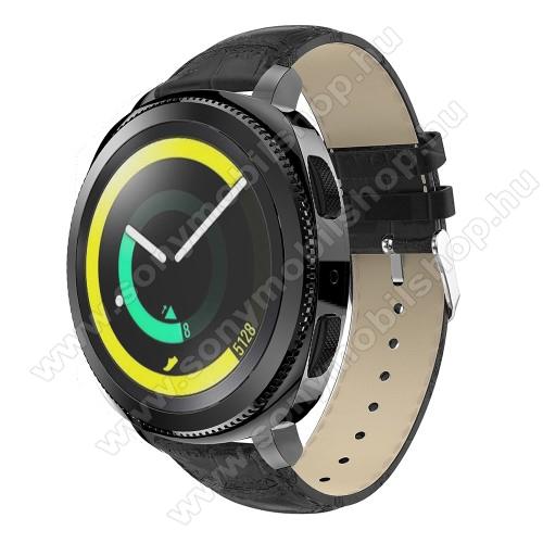 Okosóra szíj - FEKETE - Krokodilbőr minta, Valódi bőr, 120mm + 80mm hosszú, 20mm széles, max 205mm-es csuklóra - SAMSUNG Galaxy Watch 42mm / Xiaomi Amazfit GTS / SAMSUNG Gear S2 / HUAWEI Watch GT 2 42mm / Galaxy Watch Active / Active 2