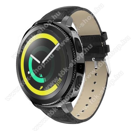 Okosóra szíj - FEKETE - Krokodilbőr minta, Valódi bőr, 120mm + 80mm hosszú, 20mm széles, max 205mm-es csuklóra - SAMSUNG Galaxy Watch 42mm / Xiaomi Amazfit GTS / HUAWEI Watch GT / SAMSUNG Gear S2 / HUAWEI Watch GT 2 42mm / Galaxy Watch Active / Active  2