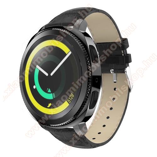 Xiaomi Amazfit BIP LiteOkosóra szíj - FEKETE - Krokodilbőr minta, Valódi bőr, 120mm + 80mm hosszú, 20mm széles, max 205mm-es csuklóra - SAMSUNG Galaxy Watch 42mm / Xiaomi Amazfit GTS / SAMSUNG Gear S2 / HUAWEI Watch GT 2 42mm / Galaxy Watch Active / Active 2