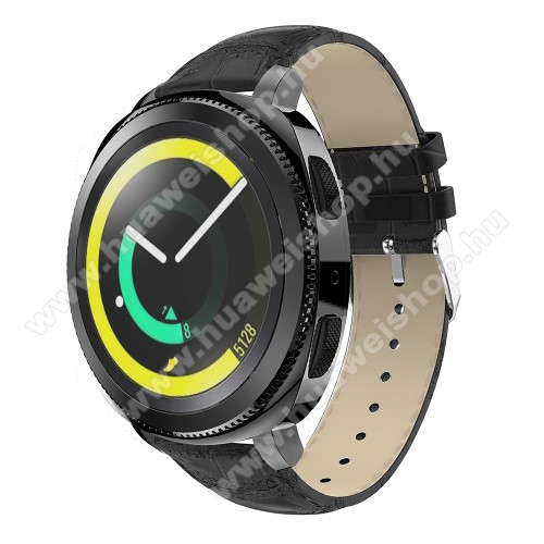 HUAWEI Watch GT 2 42mm Okosóra szíj - FEKETE - Krokodilbőr minta, Valódi bőr, 120mm + 80mm hosszú, 20mm széles, max 205mm-es csuklóra - SAMSUNG Galaxy Watch 42mm / Xiaomi Amazfit GTS / HUAWEI Watch GT / SAMSUNG Gear S2 / HUAWEI Watch GT 2 42mm / Galaxy Watch Active / Active  2