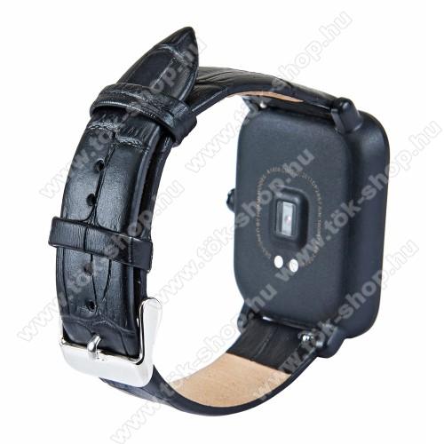 Okosóra szíj - FEKETE - Krokodilbőr minta, valódi bőr - 84mm + 97mm hosszú, 20mm széles - SAMSUNG Galaxy Watch 42mm / Xiaomi Amazfit GTS / HUAWEI Watch GT / SAMSUNG Gear S2 / HUAWEI Watch GT 2 42mm / Galaxy Watch Active / Active  2 / Galaxy Gear Sport