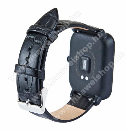 Okosóra szíj - FEKETE - Krokodilbőr minta, valódi bőr - 84mm + 97mm hosszú, 18mm széles - SAMSUNG SM-R500 Galaxy Watch Active / SAMSUNG Galaxy Watch Active2 40mm / SAMSUNG Galaxy Watch Active2 44mm