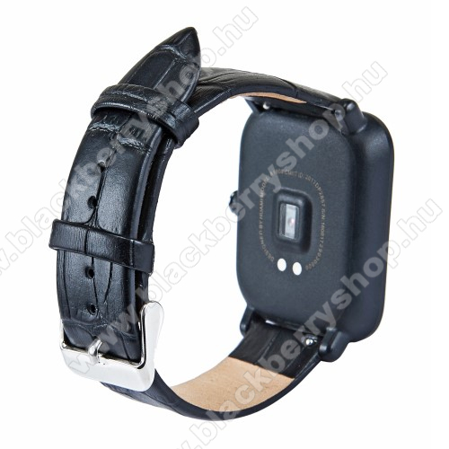 Okosóra szíj - FEKETE - Krokodilbőr minta, valódi bőr - 84mm + 97mm hosszú, 20mm széles - SAMSUNG Galaxy Watch 42mm / Xiaomi Amazfit GTS / SAMSUNG Gear S2 / HUAWEI Watch GT 2 42mm / Galaxy Watch Active / Active 2