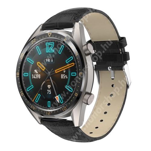 Okosóra szíj - FEKETE - Krokodilbőr mintás, valódi bőr - 120 + 80mm hosszú, 22mm széles, 140-210mm-es csuklóig ajánlott - SAMSUNG Galaxy Watch 46mm / SAMSUNG Gear S3 Classic / Gear S3 Frontier / Honor MagicWatch 2 46mm
