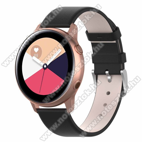 HUAWEI Honor MagicWatch 2 42mm Okosóra szíj - FEKETE - műbőr - 118.5mm + 88.55mm hosszú, 20mm széles - SAMSUNG Galaxy Watch 42mm / Xiaomi Amazfit GTS / SAMSUNG Gear S2 / HUAWEI Watch GT 2 42mm / Galaxy Watch Active / Active 2