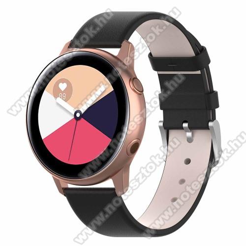 WOTCHI SmartWatch W22SOkosóra szíj - FEKETE - műbőr - 118.5mm + 88.55mm hosszú, 20mm széles - SAMSUNG Galaxy Watch 42mm / Xiaomi Amazfit GTS / SAMSUNG Gear S2 / HUAWEI Watch GT 2 42mm / Galaxy Watch Active / Active 2