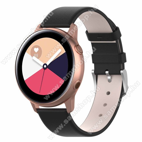 SAMSUNG Galaxy Watch Active2 40mm Okosóra szíj - FEKETE - műbőr - 118.5mm + 88.55mm hosszú, 20mm széles - SAMSUNG Galaxy Watch 42mm / Xiaomi Amazfit GTS / SAMSUNG Gear S2 / HUAWEI Watch GT 2 42mm / Galaxy Watch Active / Active 2