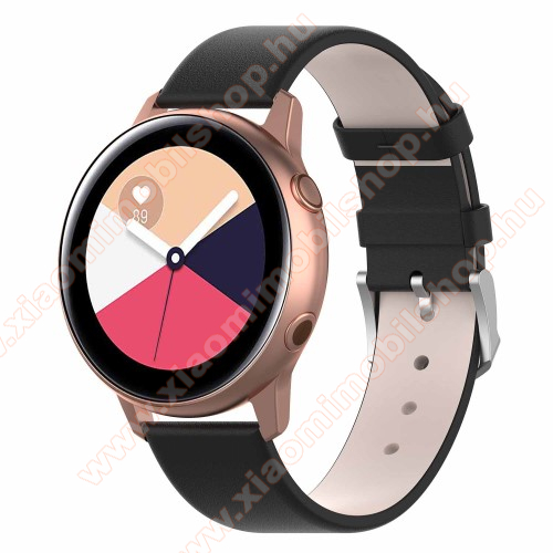 Xiaomi Amazfit GTS Okosóra szíj - FEKETE - műbőr - 118.5mm + 88.55mm hosszú, 20mm széles - SAMSUNG Galaxy Watch 42mm / Xiaomi Amazfit GTS / SAMSUNG Gear S2 / HUAWEI Watch GT 2 42mm / Galaxy Watch Active / Active 2