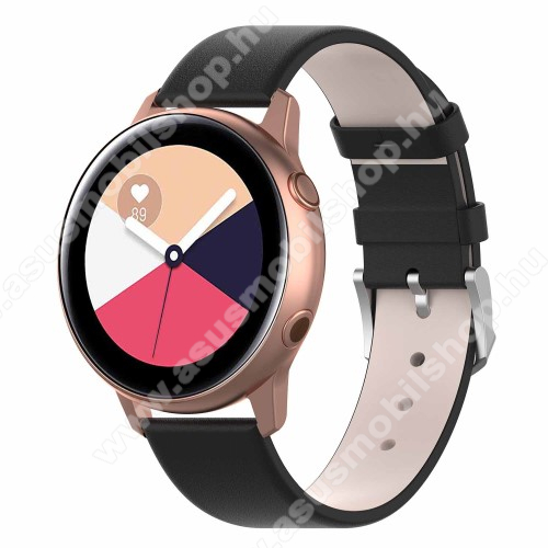 Okosóra szíj - FEKETE - műbőr - 118.5mm + 88.55mm hosszú, 20mm széles - SAMSUNG Galaxy Watch 42mm / Xiaomi Amazfit GTS / SAMSUNG Gear S2 / HUAWEI Watch GT 2 42mm / Galaxy Watch Active / Active 2