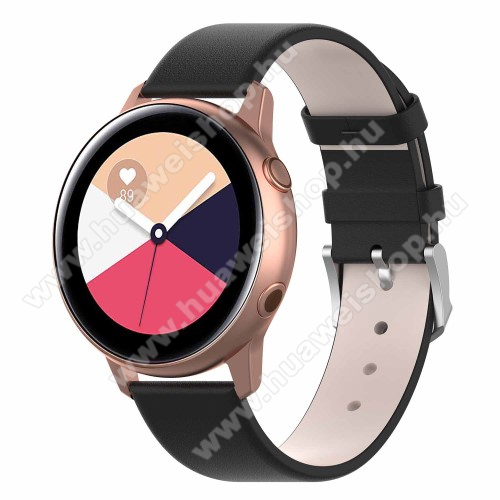 HUAWEI Watch GT 2 42mm Okosóra szíj - FEKETE - műbőr - 118.5mm + 88.55mm hosszú, 20mm széles - SAMSUNG Galaxy Watch 42mm / Xiaomi Amazfit GTS / HUAWEI Watch GT / SAMSUNG Gear S2 / HUAWEI Watch GT 2 42mm / Galaxy Watch Active / Active  2 / Galaxy Gear Sport