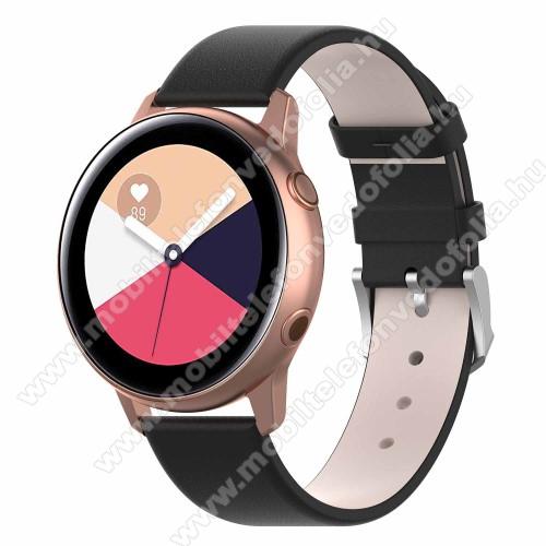 Garmin VenuOkosóra szíj - FEKETE - műbőr - 118.5mm + 88.55mm hosszú, 20mm széles - SAMSUNG Galaxy Watch 42mm / Xiaomi Amazfit GTS / SAMSUNG Gear S2 / HUAWEI Watch GT 2 42mm / Galaxy Watch Active / Active 2