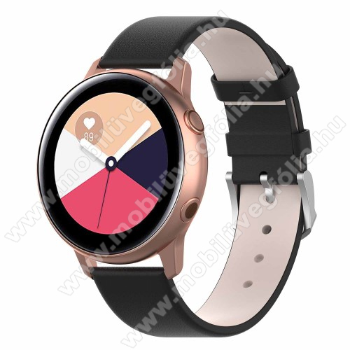 HUAWEI MagicWatch 2 42mm Okosóra szíj - FEKETE - műbőr - 118.5mm + 88.55mm hosszú, 20mm széles - SAMSUNG Galaxy Watch 42mm / Xiaomi Amazfit GTS / HUAWEI Watch GT / SAMSUNG Gear S2 / HUAWEI Watch GT 2 42mm / Galaxy Watch Active / Active  2 / Galaxy Gear Sport
