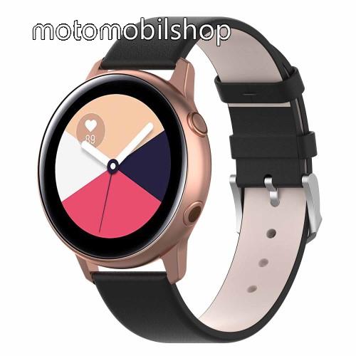 Okosóra szíj - FEKETE - műbőr - 118.5mm + 88.55mm hosszú, 20mm széles - SAMSUNG Galaxy Watch 42mm / Xiaomi Amazfit GTS / HUAWEI Watch GT / SAMSUNG Gear S2 / HUAWEI Watch GT 2 42mm / Galaxy Watch Active / Active  2 / Galaxy Gear Sport