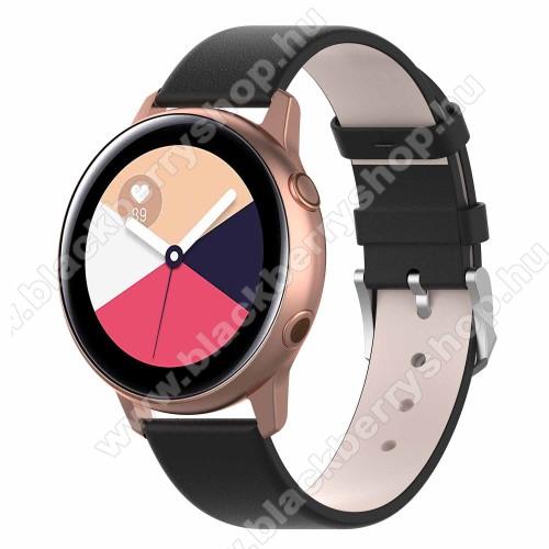 Okosóra szíj - FEKETE - műbőr - 118.5mm + 88.55mm hosszú, 20mm széles - SAMSUNG Galaxy Watch 42mm / Xiaomi Amazfit GTS / SAMSUNG Gear S2 / HUAWEI Watch GT 2 42mm / Galaxy Watch Active / Active 2