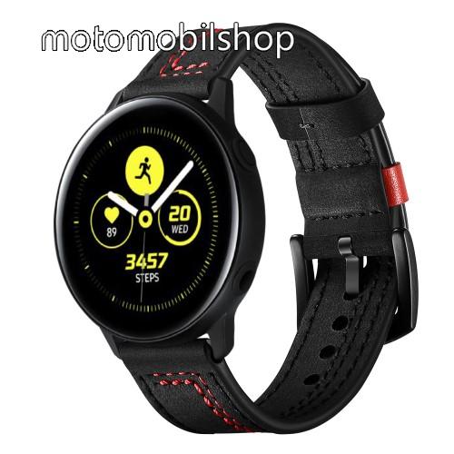 Okosóra szíj - FEKETE / PIROS - valódi bőr, 120mm+80mm hosszú, 20mm széles - SAMSUNG Galaxy Watch 42mm / Xiaomi Amazfit GTS / SAMSUNG Gear S2 / HUAWEI Watch GT 2 42mm / Galaxy Watch Active / Active 2