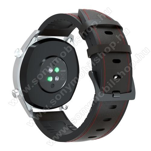 Okosóra szíj - FEKETE / PIROS - valódi bőr / szilikon - 90mm + 125mm hosszú, 20mm széles, 145-205mm-es átmérőjű csuklóméretig - SAMSUNG Galaxy Watch 42mm / Xiaomi Amazfit GTS / SAMSUNG Gear S2 / HUAWEI Watch GT 2 42mm / Galaxy Watch Active / Active 2
