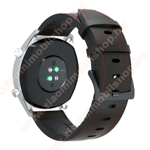 Huami Amazfit Youth Edition LiteOkosóra szíj - FEKETE / PIROS - valódi bőr / szilikon - 90mm + 125mm hosszú, 20mm széles, 145-205mm-es átmérőjű csuklóméretig - SAMSUNG Galaxy Watch 42mm / Xiaomi Amazfit GTS / SAMSUNG Gear S2 / HUAWEI Watch GT 2 42mm / Galaxy Watch Active / Active 2