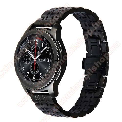 Xiaomi Amazfit GTR 47mmOkosóra szíj - FEKETE - rozsdamentes acél, 190mm hosszú, 22mm széles, - SAMSUNG Galaxy Watch 46mm / SAMSUNG Gear S3 Classic / SAMSUNG Gear S3 Frontier