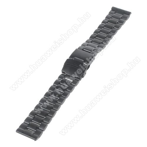 HUAWEI Watch GT 46mmOkosóra szíj - FEKETE - rozsdamentes acél, 175mm hosszú, 22mm széles - Samsung Gear 2 R380 / Samsung Gear 2 Neo R381 / LG G Watch W100 / LG G Watch R W110 / Asus Zenwatch / MOTOROLA Moto 360 2 42mm