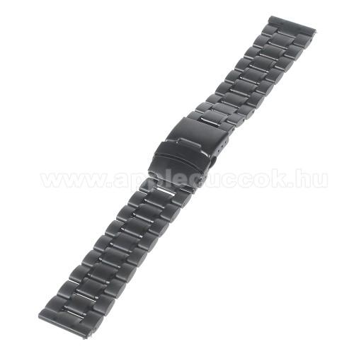 Okosóra szíj - FEKETE - rozsdamentes acél, 175mm hosszú, 22mm széles - Samsung Gear 2 R380 / Samsung Gear 2 Neo R381 / LG G Watch W100 / LG G Watch R W110 / Asus Zenwatch / MOTOROLA Moto 360 2 42mm