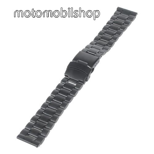 MOTOROLA Moto 360 2 42mm Okosóra szíj - FEKETE - rozsdamentes acél, 175mm hosszú, 22mm széles - Samsung Gear 2 R380 / Samsung Gear 2 Neo R381 / LG G Watch W100 / LG G Watch R W110 / Asus Zenwatch / MOTOROLA Moto 360 2 42mm