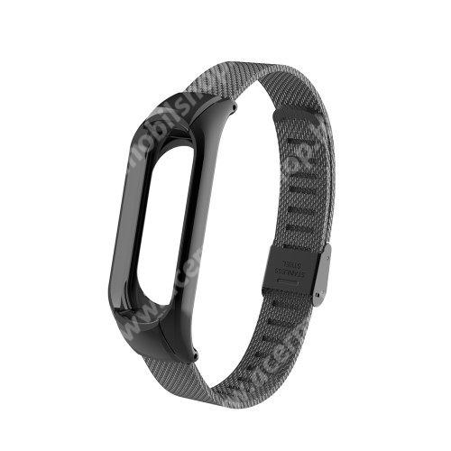 Okosóra szíj - FEKETE - rozsdamentes acél, 175-235mm-ig állítható, 15mm széles - Xiaomi Mi Band 3