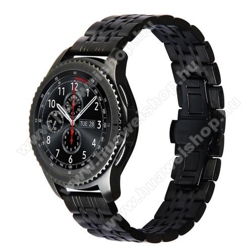 Okosóra szíj - FEKETE - rozsdamentes acél, 22mm széles, 185mm hosszú - SAMSUNG Galaxy Watch 46mm / SAMSUNG Gear S3 Classic / SAMSUNG Gear S3 Frontier