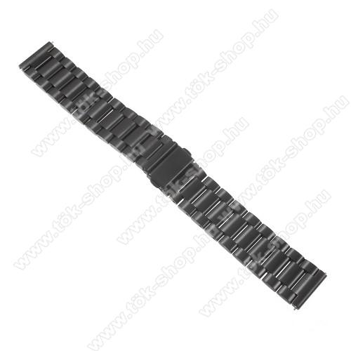 Okosóra szíj - FEKETE - rozsdamentes acél, 24cm - SAMSUNG Galaxy Watch 46mm / SAMSUNG Gear S3 Classic / SAMSUNG Gear S3 Frontier
