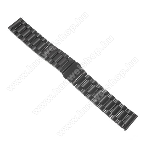 Okosóra szíj - FEKETE - rozsdamentes acél, 24cm, 22mm széles - SAMSUNG Galaxy Watch 46mm / SAMSUNG Gear S3 Classic / SAMSUNG Gear S3 Frontier