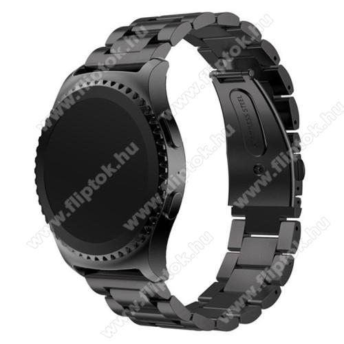 EVOLVEO SPORTWATCH M1SOkosóra szíj - FEKETE - rozsdamentes acél, csatos, 20mm széles - SAMSUNG Galaxy Watch 42mm / Xiaomi Amazfit GTS / SAMSUNG Gear S2 / HUAWEI Watch GT 2 42mm / Galaxy Watch Active / Active 2