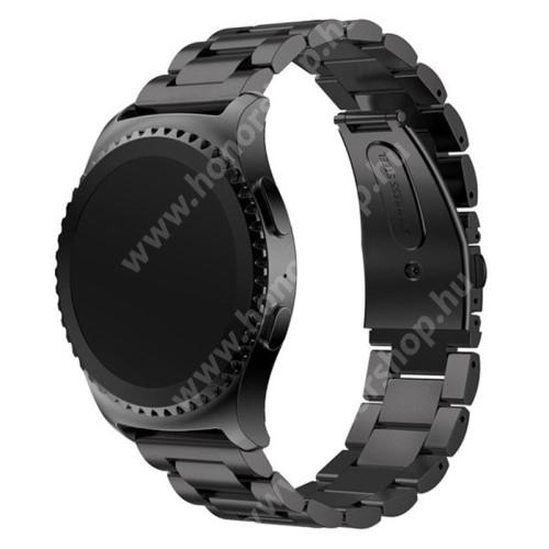 HUAWEI Honor MagicWatch 2 42mm Okosóra szíj - FEKETE - rozsdamentes acél, csatos, 20mm széles - SAMSUNG Galaxy Watch 42mm / Xiaomi Amazfit GTS / SAMSUNG Gear S2 / HUAWEI Watch GT 2 42mm / Galaxy Watch Active / Active 2