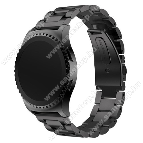 Okosóra szíj - FEKETE - rozsdamentes acél, csatos, 20mm széles - SAMSUNG Galaxy Watch 42mm / Xiaomi Amazfit GTS / SAMSUNG Gear S2 / HUAWEI Watch GT 2 42mm / Galaxy Watch Active / Active 2