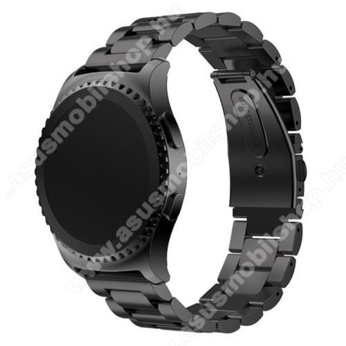 Okosóra szíj - FEKETE - rozsdamentes acél, csatos, 20mm széles - HUAWEI Watch 2 / SAMSUNG Galaxy Watch 42mm / Xiaomi Amazfit GTS / HUAWEI Watch GT / SAMSUNG Gear S2 / HUAWEI Watch GT 2 42mm / Galaxy Watch Active / Active  2 / Galaxy Gear Sport