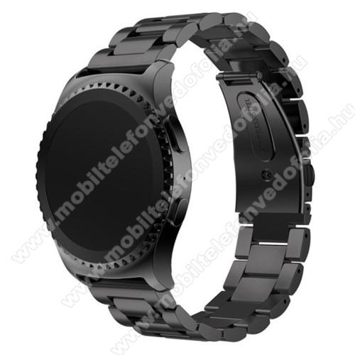 Xiaomi 70mai SaphirOkosóra szíj - FEKETE - rozsdamentes acél, csatos, 20mm széles - SAMSUNG Galaxy Watch 42mm / Xiaomi Amazfit GTS / SAMSUNG Gear S2 / HUAWEI Watch GT 2 42mm / Galaxy Watch Active / Active 2