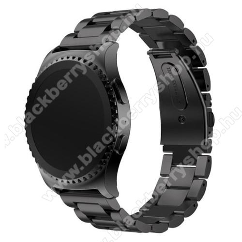 Okosóra szíj - FEKETE - rozsdamentes acél, csatos, 20mm széles - SAMSUNG Galaxy Watch 42mm / Xiaomi Amazfit GTS / SAMSUNG Gear S2 / HUAWEI Watch GT 2 42mm / Galaxy Watch Active / Active 2