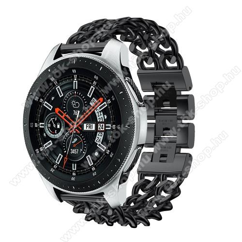 HUAWEI Honor MagicWatch 2 46mmOkosóra szíj - FEKETE - rozsdamentes acél, csatos, 170mm hosszú, 22mm széles, max 208mm-es csuklóra - SAMSUNG Galaxy Watch 46mm / SAMSUNG Gear S3 Classic / SAMSUNG Gear S3 Frontier