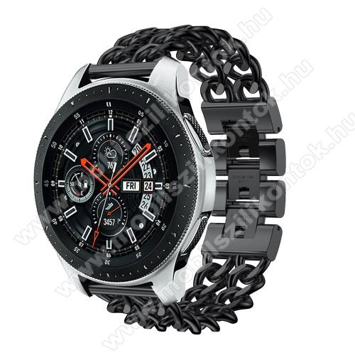 Okosóra szíj - FEKETE - rozsdamentes acél, csatos, 170mm hosszú, 22mm széles, max 208mm-es csuklóra - SAMSUNG Galaxy Watch 46mm / SAMSUNG Gear S3 Classic / SAMSUNG Gear S3 Frontier