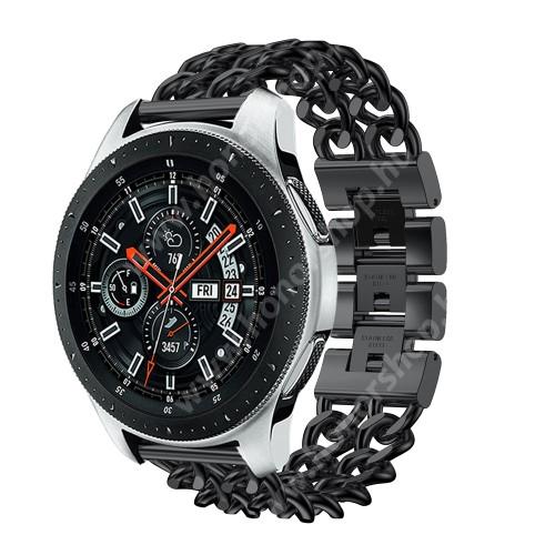 HUAWEI Watch GT 2 46mm Okosóra szíj - FEKETE - rozsdamentes acél, csatos, 170mm hosszú, 22mm széles, max 208mm-es csuklóra - SAMSUNG Galaxy Watch 46mm / SAMSUNG Gear S3 Classic / SAMSUNG Gear S3 Frontier