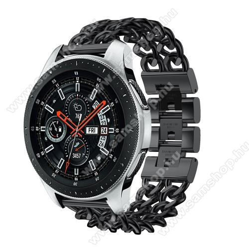 SAMSUNG Galaxy Watch3 45mm (SM-R845F)Okosóra szíj - FEKETE - rozsdamentes acél, csatos, 170mm hosszú, 22mm széles, max 208mm-es csuklóra - SAMSUNG Galaxy Watch 46mm / SAMSUNG Gear S3 Classic / SAMSUNG Gear S3 Frontier