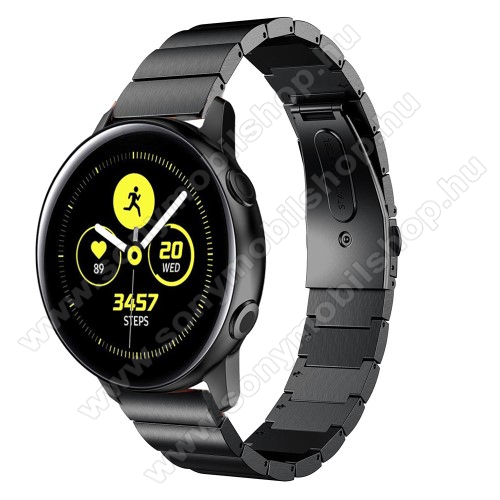 Okosóra szíj - FEKETE - rozsdamentes acél, csatos, 20mm széles - SAMSUNG SM-R500 Galaxy Watch Active / SAMSUNG Galaxy Watch Active2 40mm / SAMSUNG Galaxy Watch Active2 44mm