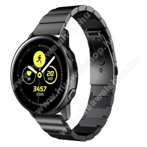 Okosóra szíj - FEKETE - rozsdamentes acél, csatos - SAMSUNG SM-R500 Galaxy Watch Active / SAMSUNG Galaxy Watch Active2 40mm / SAMSUNG Galaxy Watch Active2 44mm