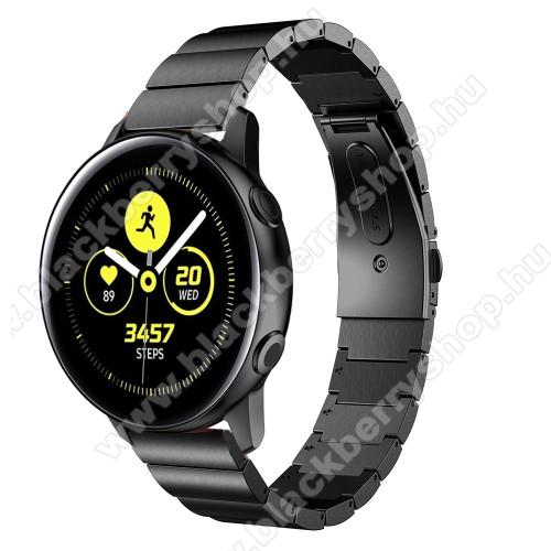 Okosóra szíj - FEKETE - rozsdamentes acél, csatos, 20mm széles - SAMSUNG SM-R500 Galaxy Watch Active / SAMSUNG Galaxy Watch Active2 40mm / SAMSUNG Galaxy Watch Active2 44mm