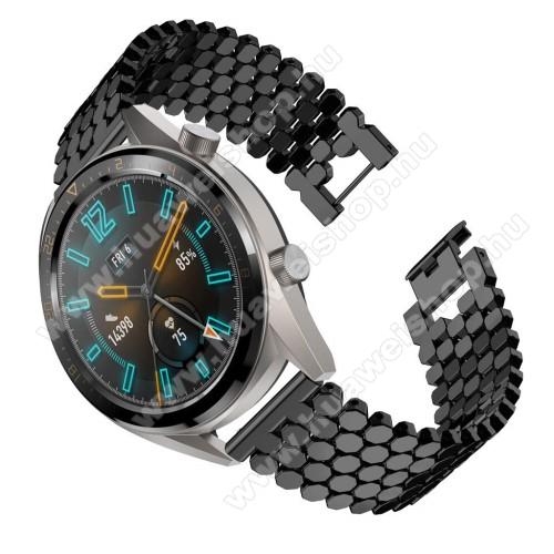 HUAWEI Watch GTOkosóra szíj - FEKETE - rozsdamentes acél, csatos - HUAWEI Watch GT / HUAWEI Honor Watch Magic / HUAWEI Watch 2 Pro