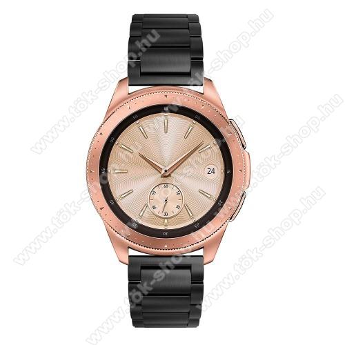 Okosóra szíj - FEKETE - rozsdamentes acél, pillangó csat, 175mm hosszú, 20mm széles, max 205mm-es csuklóra - SAMSUNG Galaxy Watch 42mm / HUAWEI Watch GT 2 42mm