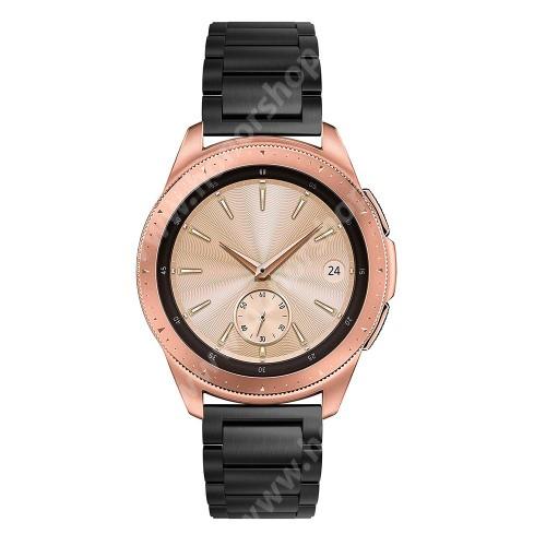 HUAWEI Honor MagicWatch 2 42mm Okosóra szíj - FEKETE - rozsdamentes acél, pillangó csat, 175mm hosszú, 20mm széles, max 205mm-es csuklóra - SAMSUNG Galaxy Watch 42mm / Xiaomi Amazfit GTS / SAMSUNG Gear S2 / HUAWEI Watch GT 2 42mm / Galaxy Watch Active / Active 2