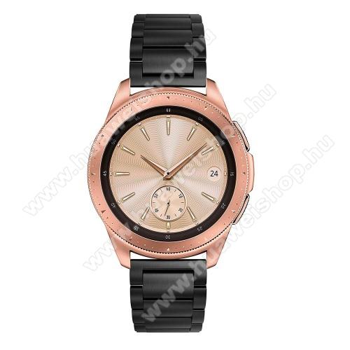 HUAWEI Watch GT 2 42mmOkosóra szíj - FEKETE - rozsdamentes acél, pillangó csat, 175mm hosszú, 20mm széles, max 205mm-es csuklóra - SAMSUNG Galaxy Watch 42mm / HUAWEI Watch GT 2 42mm