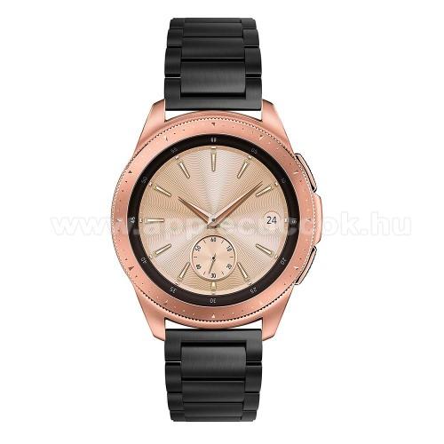 Okosóra szíj - FEKETE - rozsdamentes acél, pillangó csat, 175mm hosszú, 20mm széles, max 205mm-es csuklóra - SAMSUNG Galaxy Watch 42mm / Xiaomi Amazfit GTS / HUAWEI Watch GT / SAMSUNG Gear S2 / HUAWEI Watch GT 2 42mm / Galaxy Watch Active / Active  2 / Ga