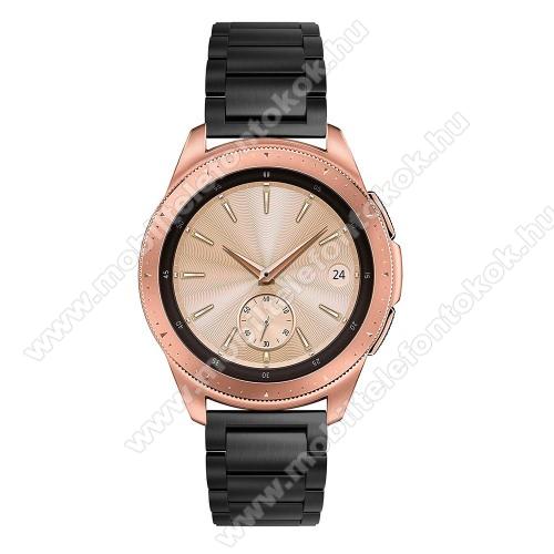 Okosóra szíj - FEKETE - rozsdamentes acél, pillangó csat, 175mm hosszú, 20mm széles, max 205mm-es csuklóra - SAMSUNG Galaxy Watch 42mm