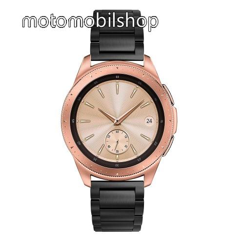 Okosóra szíj - FEKETE - rozsdamentes acél, pillangó csat, 175mm hosszú, 20mm széles, max 205mm-es csuklóra - SAMSUNG Galaxy Watch 42mm / Xiaomi Amazfit GTS / SAMSUNG Gear S2 / HUAWEI Watch GT 2 42mm / Galaxy Watch Active / Active 2