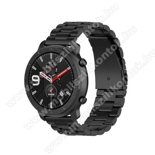 Okosóra szíj - FEKETE - rozsdamentes acél, pillangó csat - 190mm hosszú, 20mm széles, 155-205mm átmérőjű csuklóméretig - SAMSUNG Galaxy Watch 42mm / Xiaomi Amazfit GTS / SAMSUNG Gear S2 / HUAWEI Watch GT 2 42mm / Galaxy Watch Active / Active 2